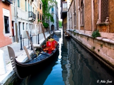 Secluded canal in Venice.